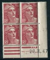 """Bloc** De 4  Timbres De 1947 """"3,50 F. - Marianne De Gandon"""" Avec Date  29 . 3 . 47 (3 Points) - Coins Datés"""
