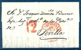 1843 , MURCIA , D.P. 21 , CARTA CIRCULADA ENTRE CARTAGENA Y SEVILLA , BAEZA , PORTEO , LLEGADA - ...-1850 Vorphilatelie
