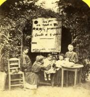 France Enfants Jouant Au Barbier Scene De Genre Ancienne Photo Stereoscope Radiguet 1860' - Stereoscopic