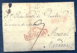 """1794 , MURCIA , D.P. 21 , CARTA CIRCULADA ENTRE CARTAGENA Y RONCAL  , Nº 12 , """" POR LA MALA DE MADRID """", PORTEO - Spain"""