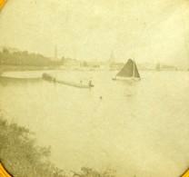 France ? Voiliers Sur Un Lac Ancienne Photo Stereoscope Tissue 1870 - Stereoscopic