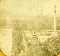 France Paris ? Parc Colonne Fontaine Ancienne Photo Stereoscope Tissue 1870 - Stereoscopic