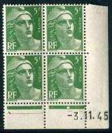 """Bloc** De 4  Timbres De 1945 """"5 F. - Marianne De Gandon"""" Avec Date  3 .11 . 45 (1 Point) - Coins Datés"""