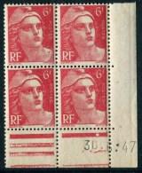 """Bloc** De 4  Timbres De 1947 """"6 F. - Marianne De Gandon"""" Avec Date  30 .6 . 47 (1 Point) - Coins Datés"""