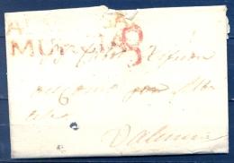 1839 , MURCIA , D.P. 21 ,CARTA CIRCULADA ENTRE ALMANSA Y VALENCIA , MARCA PREF. Nº 1 EN ROJO , PORTEO - Spain