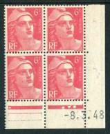 """Bloc** De 4  Timbres De 1948 """"6 F. - Marianne De Gandon"""" Avec Date  8 . 3 . 48 (3 Points) - Coins Datés"""