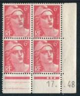 """Bloc** De 4  Timbres De 1948 """"6 F. - Marianne De Gandon"""" Avec Date  17 . 3 . 48 (3 Points) - 1940-1949"""