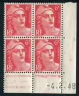 """Bloc** De 4  Timbres De 1948 """"6 F. - Marianne De Gandon"""" Avec Date  4 . 2 . 48 - 1940-1949"""