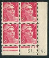 """Bloc** De 4  Timbres De 1946 """"3 F. - Marianne De Gandon"""" Avec Date  31 . 5 . 46 (3 Points) - Coins Datés"""