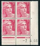"""Bloc** De 4  Timbres De 1946 """"3 F. - Marianne De Gandon"""" Avec Date  2 . 4 . 46 (3 Points) - 1940-1949"""