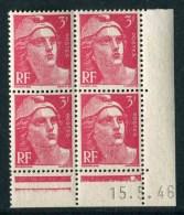 """Bloc** De 4  Timbres De 1946 """"3 F. - Marianne De Gandon"""" Avec Date  15 . 5 . 46 (1 Point) - 1940-1949"""