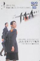 Carte Prépayée Japon - JAL JAPAN AIRLINES Prepaid Quo Card / JAA - Airplane Flugzeug Avion / Femme Girl Frau 2048 - Avions