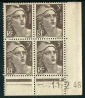 """Bloc** De 4  Timbres De 1946 """"3 F. - Marianne De Gandon"""" Avec Date  11 . 2 . 46 (1 Point) - Coins Datés"""