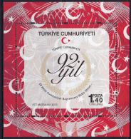 TURKEY, 2015, MNH,92ND ANNIVERSARY OF THE REPUBLIC, FLAGS, SHEETLET - Other
