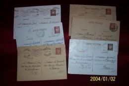 LOT DE 6 LETTRES DES PYRENEES ORIENTALES  66  ENTIERS POSTAUX  ANNEES 40 AVEC CORESPONDANCE - Marcophilie (Lettres)