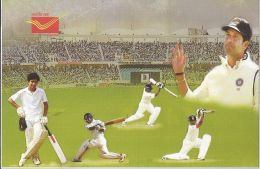 India, 2013, Post Card On Cricket, Sachin Tendulkar, Issued By Kolkata Post Office, 2013 - Cricket