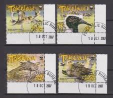 Tokelau Mi 368-371 - WWF - Pacific Golden Plover - Bird - 2007 - First Day Cancellation - Tokelau