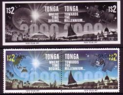 Tonga 1996 - $2.00 Proof Pair + Specimen Pair - Year 2000 - New Millenium - Map - Satellite - Pyramid - Tonga (1970-...)