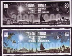 Tonga 1996 - 80s Proof Pair + Specimen Pair - Year 2000 - New Millenium - Map - Tonga (1970-...)