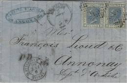 """1868- Lettre D'Ancona Pour La France - Affr. 40 C  Entrée """"ITALIE / AMB. MARSEILLE G """" Noir - 1861-78 Victor Emmanuel II"""