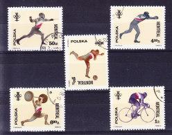 POLOGNE 1976, Y&T 2285/90 OBL.  (6B81) - Ete 1976: Montréal