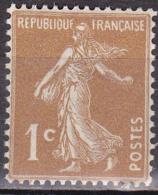 N° 277A Semeuse à Fond Plein 1c Bistre-Olive Timbre Neuf Sans Charnière - France