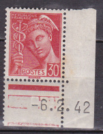 N° 412 Type Mercure   1  Timbre  Neuf Sans Charnière Coins Datés 6.2.42 Bord De Feuille Bas Droit - 1940-1949