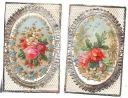 CHROMO Découpis Argentée Fleurs Roses (2 Chromos) - Victorian Die-cuts