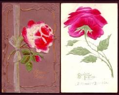 LOT 2 CPA ANCIENNES- BELLE FANTAISIE-  GROSSES ROSES EPAISSES EN VELOURS DE SOIE- TOUT GAUFRÉ- - Dreh- Und Zugkarten