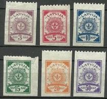 LETTLAND Latvia 1919 = 6 Werte Aus Michel 6 - 14 B Einseitig (oben) Perforiert 9 3/4 * - Lettonie