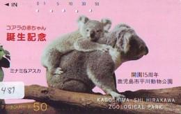Telecarte Japon * KOALA * BEAR * Koalabär (481) PHONECARD JAPAN ANIMAL * TIER TELEFONKARTE * FEMME - Jungle