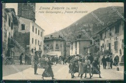 Cuneo Limone Piemonte Piazza Municipale Mercato PIEGHINA Cartolina MT6726 - Cuneo