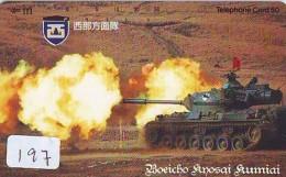 Télécarte JAPON * WAR TANK (197) MILITAIRY LEGER ARMEE PANZER Char De Guerre * KRIEG * JAPAN Phonecard Army - Armée