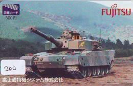 Télécarte JAPON * WAR TANK (200) MILITAIRY LEGER ARMEE PANZER Char De Guerre * KRIEG * JAPAN Phonecard Army - Armee