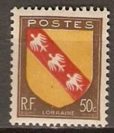 FRANCE    -  1946 .  Y&T N° 757 **.     ARMOIRIES  /  BLASONS   -    LORRAINE - France