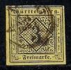 WURTTEMBERG, 1864, Cancelled Stamp(s) 3 Kreuzer, Hellgelb, MI 2, #16087 - Wuerttemberg