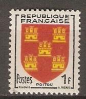 FRANCE    -  1953 .  Y&T N° 952 **.     ARMOIRIES  /  BLASONS   -    POITOU - France