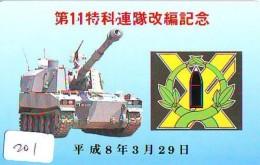 Télécarte JAPON * WAR TANK (201) MILITAIRY LEGER ARMEE PANZER Char De Guerre * KRIEG * JAPAN Phonecard Army - Armée