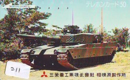 Télécarte JAPON * WAR TANK (211) MILITAIRY LEGER ARMEE PANZER Char De Guerre * KRIEG * JAPAN Phonecard Army - Armee