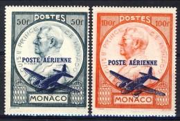 Monaco Posta Aerea 1946 Serie N. 13-14 Sovrastampati MNH Catalogo € 13 - Posta Aerea