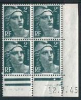 """Bloc** De 4  Timbres De 1945 """"2 F. - Marianne De Gandon"""" Avec Date  12 . 7 . 45 (1 Point) - Coins Datés"""