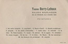Carton D'Invitation à Un Vernissage Du Peintre Yvonne Borry-Lehoux à La Galerie Bourlaouën - 44000 Nantes - 1963 - Programma's