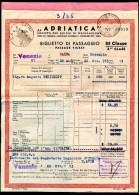 ADRIATICA, Biglietto Di Passagio, Venezia - Caifa - Messapia,22.10.1953, III Classe - Europa