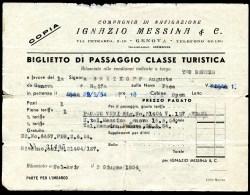 Compagnia Di Navigazione, Genova - Haifa (Israel), Ignazo Messina & C.,Classe Turistica,3.6.1954, Bretkopf - Europa