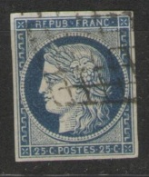 25 C. Cérès Bleu  - Yvert N° 4,  Oblitération Grille - TTB - 1849-1850 Cérès
