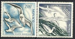 Monaco POsta Aerea 1955 N. 56 F. 200 E N. 57 F. 500 Dent. 11 Uccelli Di Mare MNH Catalogo 113 - Posta Aerea