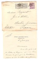 India 3 Covers Calcutta Great Eastern Hotel&Benares Oodlands Hotel&Agra Laurie's Hotel 1908/09 To Menton France PR3014 - 1902-11 King Edward VII