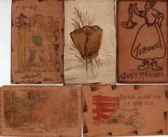 Carte Postale En Cuir Ou Peau Tannée Leather - X 5 - Postcards