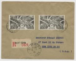 REUNION - 1946 - ENVELOPPE RECOMMANDEE De SAINT DENIS Pour NEW YORK - Réunion (1852-1975)