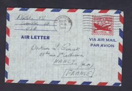 USA Marcophilie Aerogramme Air Letter Prepaid  U.S Postage 10c Air Mail De Evanston Illinois  Vers Nancy - Poste Aérienne
